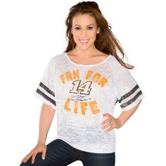 Touch by Alyssa Milano Tony Stewart Ladies Fan For Life Batwing Burnout T-Shirt - White