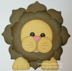 Punch/Die Art - The lions mane is cut with the Floral Framelits, The head is the 2-1/2 Circle punch, Cheeks; 1-1/4 Circle, Nose; Small Heart, Eyes;1/2 Circle, Mouth; 3/4 and 1 Circle Punches, Paws; Smallest Oval Framelit - bjl