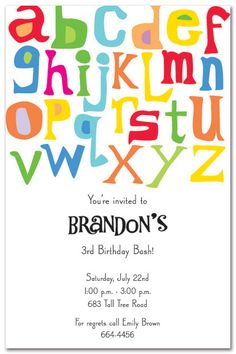 Abc 123 birthday party invitation abc pinterest party abc invitation alphabet birthday partiesalphabet partyrainbow birthday partiesbirthday party themesbirthday altavistaventures Images