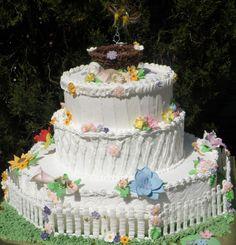 Summer Wedding Cakes | Original Embed Round Wedding Cakes, Summer Wedding Cakes, Summer Cakes, Summer Of Love, Desserts, Food, Tailgate Desserts, Deserts, Round Shaped Wedding Cakes