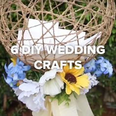 6 DIY Wedding Crafts: I like the twine orb, the tulle balloon, and the wine bottle centerpiece