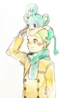 Cilan and Pansage ♡ I give good credit to whoever made this