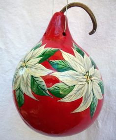 gourds painted like poinsettas | ... for -Christmas White Poinsettia's Painted Gourd Birdhouse - Christmas Christmas Rock, Green Christmas, Christmas Design, Painted Ornaments, Xmas Ornaments, Diy Christmas Crafts To Sell, Biscuit, Gourds Birdhouse, Hand Painted Gourds