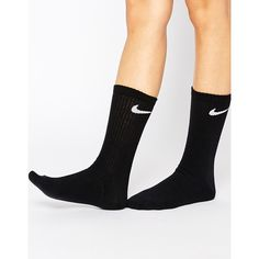 Nike 3 Pack Crew Socks (21 AUD) ❤ liked on Polyvore featuring intimates, hosiery, socks, ribbed socks, cotton socks, crew socks, logo socks and nike