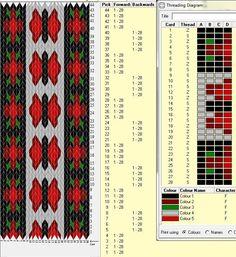 28 cards, 5 colors, pattern repeats every 8 rows, GTT 🔹 Inkle Weaving, Inkle Loom, Card Weaving, Weaving Art, Tablet Weaving Patterns, Weaving Textiles, Iris Folding Pattern, Willow Weaving, Weaving Projects