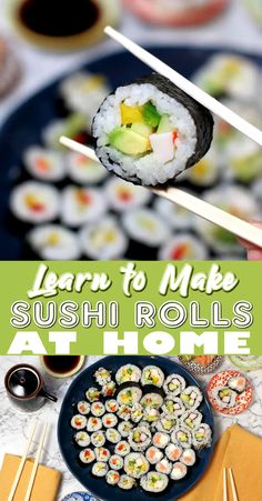 Sushi rolls are delicious but they can easily be made at home Plus its super fun to see all the different roll combinations you can come up with. As with anything practice makes perfect but the road to sushi roll making perfection is yummy all the way. Easy Sushi Rolls, Making Sushi Rolls, Homemade Sushi Rolls, Veggie Sushi Rolls, Cooked Sushi Rolls, Healthy Sushi Rolls, Healthy Food, Diy Sushi, Sushi Party