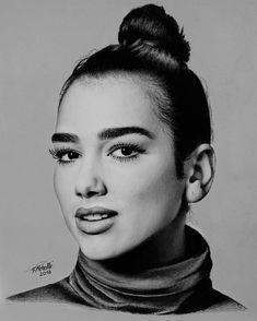 Pencil Art Drawings, Realistic Drawings, Kawaii Drawings, Art Drawings Sketches, Cartoon Drawings, Cool Drawings, Pencil Portrait Drawing, Drawing Portraits, Celebrity Drawings