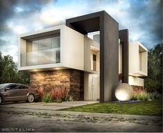 101 planos de casas: Vivienda con un diseño conceptual geométrico de cubos Modern Architecture Design, Facade Architecture, Residential Architecture, Duplex House Design, House Front Design, Modern House Facades, Home Building Design, 3d Home, Villa Design