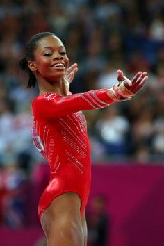 Gabrielle Douglas of the United States performs on the floor exercise in the Artistic Gymnastics Women's Team final on Day 4 of the London 2012 Olympic Games at North Greenwich Arena on July 31, 2012 in London, England.