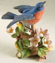 Boehm Birds: Bluebird with Apple Blossoms