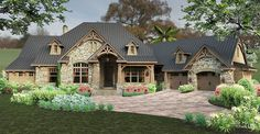 Plan 16886WG: Rustic and Rugged With Bonus Room Above  - 2,466  HEATED S.F.   3  BEDS   2  BATHS   1-2  FLOORS  The rustic exterior of this gorgeous Craftsman home plan is embellished with stone accents and decorative wood trim..  An amazing gourmet kitchen awaits homeowners with a huge island, lots of counter space and double ovens plus a nearby walk-in pantry.  A romantic fireplace warms the beautiful master suite that also has a tray ceiling.