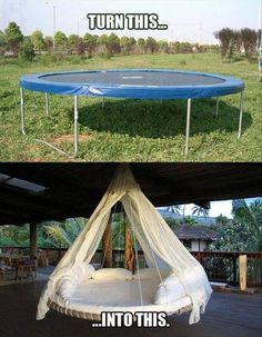Turn a trampoline into a hanging outdoor bed as a new take on the hammock idea for relaxing. Turn a trampoline into a hanging outdoor bed as a new take… Outdoor Projects, Home Projects, Outdoor Decor, Outdoor Fun, Craft Projects, Diy Casa, Trampolines, Ideias Diy, Diy Hanging
