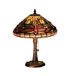 Meyda Tiffany 27158 Tiffany Dragonfly W/ Twisted Fly Mosaic Base Accent Lamp