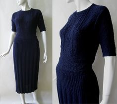 Late 1940's / early 1950's boucle knit dress by afterglowvintage, $128.00