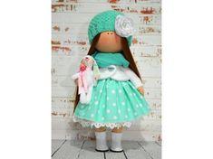 Nursery doll Interior doll Rag doll Art doll Handmade doll Green doll Tilda doll Soft doll Fabric doll Cloth doll Collectable doll by Olga S Rag Doll Tutorial, Russia Ukraine, Soft Dolls, Fabric Dolls, Are You Happy, Doll Clothes, How Are You Feeling, Nursery, Children