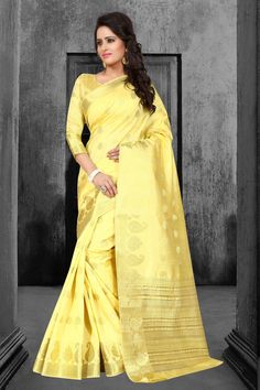Yellow Tussar Silk Saree With Blouse 67594