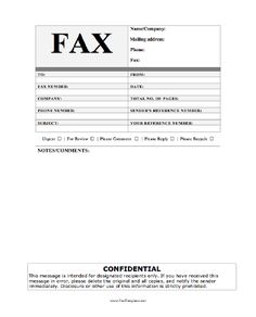 Fax Cover Sheet  Standard Fax Cover Sheet With Equity Theme