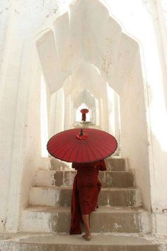 Umbrella - photo by Steve McCurry Steve Mccurry, Red Umbrella, Under My Umbrella, Japan Kultur, World Press Photo, Umbrellas Parasols, Paper Umbrellas, Buddhist Monk, Shades Of Red