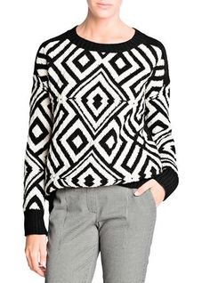 Womens Casual Sweater - Black White / Geometric Print