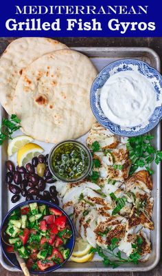 Mediterranean pan grilled fish with lemon basil sauce! Crispy, flaky fish you can serve gyro-style with pita and all sorts of Mediterranean fixings. Grilled Cod Recipes, Grilling Recipes, Seafood Recipes, Dinner Recipes, Cooking Recipes, Healthy Recipes, Tilapia Recipes, Greek Grilled Fish Recipe, Mediterranean Diet Recipes