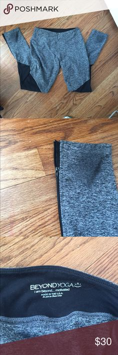 Beyond yoga space dye workout pants, worn 3 times! Beyond yoga space dye workout leggings.  They have some wear on the bottoms because I wear them for pure barre over my socks. I have only worn them 2 maybe 3 times. the black legging on the knee saves the knees from looking like the heels of the pants. No size marked on these (which is weird for beyond yoga) but they are a medium. Offers welcome smoke free home. Beyond Yoga Pants Leggings