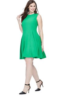 44f1e698aec8f Swing Dress in Emerald Black Work Outfit