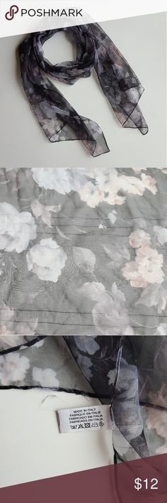 """Black Floral Lightweight Italian Scarf Beautiful black, gray, and cream floral scarf made in Italy. Material is 100% polyester. Scarf is very lightweight. Scarf is 13""""x59"""". Never been worn! Accessories Scarves & Wraps"""
