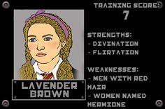 Lavender's weaknesses crack me up! From The Potter Games.