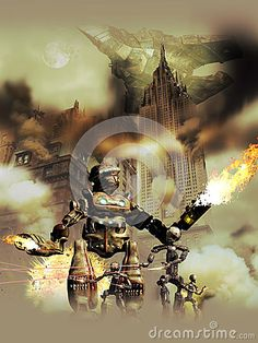 Several alien androids and robots invading Manhattan, creating chaos and destructing all.