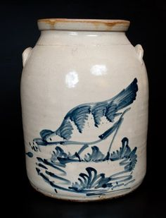 Rare Five-Gallon Elaborate Chicken Crock, attrib. Antique Crocks, Old Crocks, Antique Stoneware, Stoneware Crocks, Antique Pottery, Antique Items, Jar, Antiques, March 14th