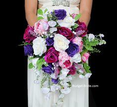Hot Pink and Purple Teardrop brides bouquet