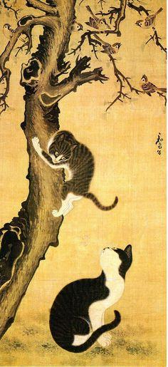 Cats and Sparrows 18th Century Byeon Sangbyeok Myojakdo cats in korean art