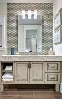 bathroom| http://bathroomdesigncollections.blogspot.com ~~ LOVE, LOVE, LOVE the tile above the counter. Looks so rich !!