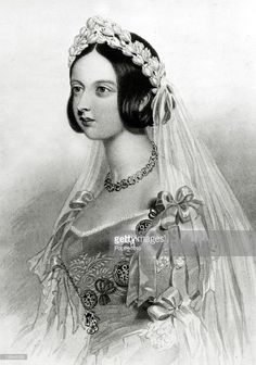 History Personalities, British Royalty, pic: 1840, This illustration shows Queen Victoria, (1819-1901) in her wedding dress, She married Prince Albert in 1840