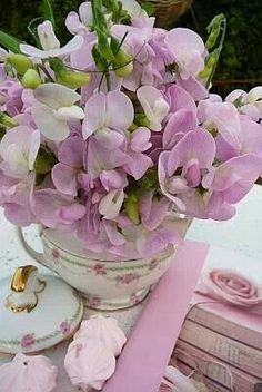 Sweet Peas in a tea cup.  They were my mom's favorite.