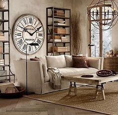 Restoration Hardware living room.