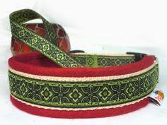 Hundehalsband Diamante, rot mit Filzpolster - Halsband, Geschirr, Leine selbst gestalten - peppetto.de