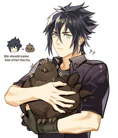 Black chocobo Noctis: Why are you guys smiling like that