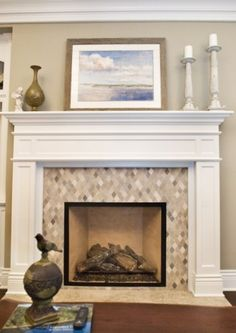 That Is A Very Pretty Fireplace Love The Diamond Cut Mosaic Tile White Mantle