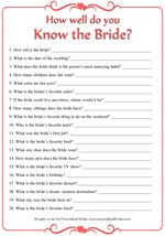 printable ....How Well Do You Know the Bride Printable Bridal Shower Game