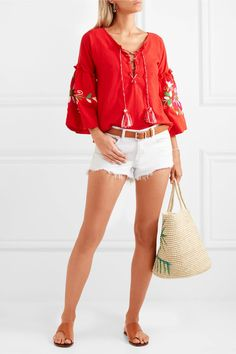 Sensi Studio - Lace-up Embroidered Crinkled-cotton Top - large Cotton Slip, Crinkles, Lace Up, Red Lace, White Shorts, Your Style, Short Dresses, Bell Sleeve Top