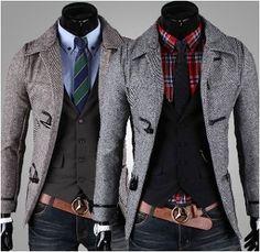 Men's Horn Button-Up Slim Fit Coat