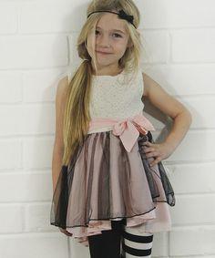 Look at this #zulilyfind! Peach & White Ruffle Hi-Low Dress - Toddler & Girls #zulilyfinds
