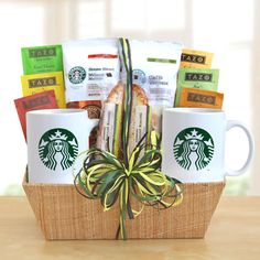 Starbucks Tea and Coffee Basket  This is a gift meant to be shared and enjoyed. An Assortment of six Tazo Teas, and two blends of Starbucks finest, Breakfast Blend and Caffe Verona. Also includes two signature mugs and two pieces of biscotti, all packaged in a beautiful gift box and topped with a raffia ribbon.