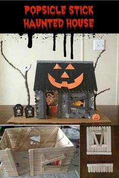 Stick Haunted House Popsicle Stick Haunted House makes the perfect craft and decoration for Halloween. Simple and fun to create.Popsicle Stick Haunted House makes the perfect craft and decoration for Halloween. Simple and fun to create. Popsicle Stick Crafts House, Popsicle Sticks, Craft Stick Crafts, Diy Crafts, Halloween Arts And Crafts, Diy Halloween Decorations, Halloween Fun, Halloween Village, Halloween Witches