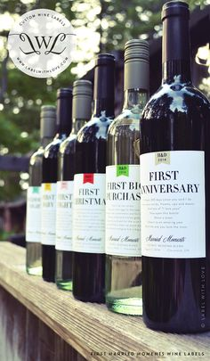 """A bottle of wine labeled for all your big """"firsts"""" as a married couple!"""