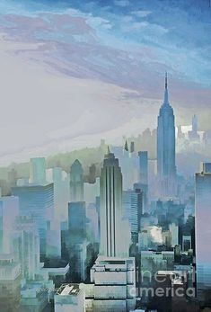 NYC Morning Blues and subdued greens, lavender, cyan hues in this misty morning birds-eye view of the city skyscrapers. Click the 'visit' button for image details and print options.
