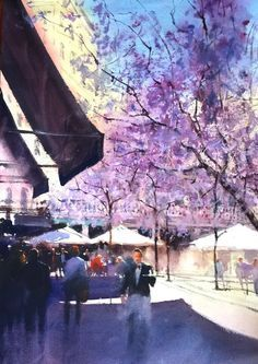 Paseo Violeta AUTOR: ÁLVARO CASTAGNET TÉCNICA: Acuarela  Álvaro Castagnet  #alvarocastagnet #acuarela #watercolor #galeriadeartetrinotortosa #ventadearte