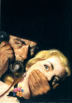 Pulp cover art by Rafael Desoto, woman dame captive hostage kidnap grasp grab gagged man hoodlum telephone phone danger