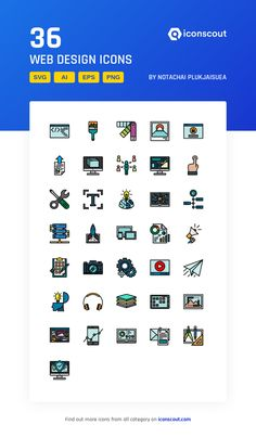 Web Design  Icon Pack - 36 Colored Outline Icons Web Design Icon, Png Icons, More Icon, Icon Pack, Icon Font, Design Development, Outline, Fonts, Designer Fonts